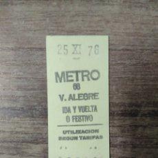 Coleccionismo Billetes de transporte: MFF.- BILLETE DE METRO. V. ALEGRE, IDA Y VUELTA O FESTIVO.- 25-XI-76.-. Lote 179190680