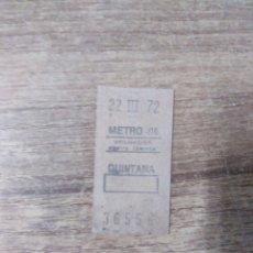 Coleccionismo Billetes de transporte: MFF.- BILLETE DE METRO. QUINTANA.- 22-III-72.-. Lote 179191066