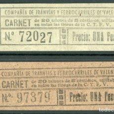 Coleccionismo Billetes de transporte: 2 BILLETES DE CARNET DE C.T.F.V. // COMPAÑIA DE TRANVIAS Y FERROCERRILES DE VALENCIA // S5. Lote 179622903