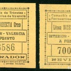 Coleccionismo Billetes de transporte: 2 BILLETES DE COMPAÑIA DE TRANVIAS Y FERROCARRILES DE VALENCIA // LINEA GRAO // S5. Lote 179633656