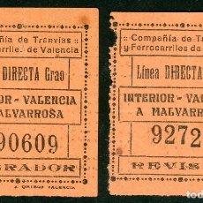 Coleccionismo Billetes de transporte: 2 BILLETES DE COMPAÑIA DE TRANVIAS Y FERROCARRILES DE VALENCIA // LINEA GRAO // S5. Lote 179634537