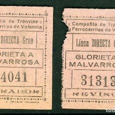 Coleccionismo Billetes de transporte: 2 BILLETES DE COMPAÑIA DE TRANVIAS Y FERROCARRILES DE VALENCIA // LINEA GRAO // S5. Lote 179635203