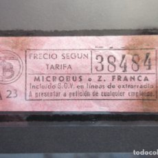 Coleccionismo Billetes de transporte: BILLETE CAPICUA 38484 MICROBUSES O ZONA FRANCA COLOR ROSA TRANVIAS BARCELONA AUTOBUSES. Lote 180231700