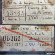 Coleccionismo Billetes de transporte: 2 BILLETE CAPICUA 43434 06360 CANARIAS GUAGUAS LAS PALMAS IDA Y VUELTA ALAMEDA COLON MUELLE GRANDE. Lote 180231827