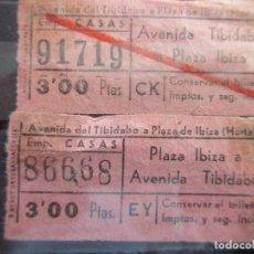 Coleccionismo Billetes de transporte: 2 BILLETE CAPICUA 91719 86668 AUTOBUSES CASAS BARCELONA. Lote 180231885