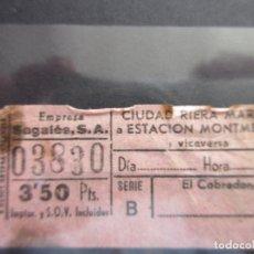 Coleccionismo Billetes de transporte: BILLETE CAPICUA 03830 AUTOBUSES SAGALES CIUDAD RIERA MARSA. Lote 180231958
