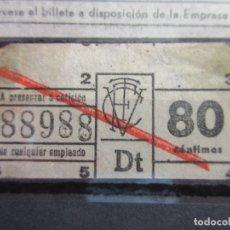 Coleccionismo Billetes de transporte: BILLETE CAPICUA 88988 VALENCIA TRANVIAS. Lote 180232010