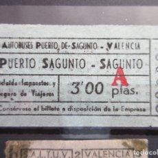 Coleccionismo Billetes de transporte: BILLETE AUTOBUSES PUERTO DE SAGUNTO VALENCIA. Lote 180232120
