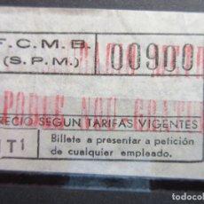 Coleccionismo Billetes de transporte: BILLETE CAPICUA 00900 CONMEMORATIVO INAUGURACION PARADA POBLE NOU GRATUITO CATALAN METRO BARCELONA. Lote 180232323