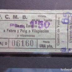 Coleccionismo Billetes de transporte: BILLETE CAPICUA 06160 METRO BARCELONA SOBRE CARGA 1.50 PESETAS. Lote 180232526