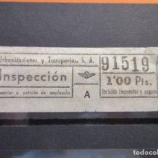 Coleccionismo Billetes de transporte: BILLETE CAPICUA 91519 1 PESETA INSPECCION URBAS URBANIZACIONES Y TRANSPORTES BARCELONA AUTOBUSES. Lote 180232613