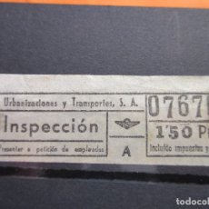 Coleccionismo Billetes de transporte: BILLETE CAPICUA 07670 1.50 PESETA INSPECCION URBAS URBANIZACIONES Y TRANSPORTES BARCELONA AUTOBUSES. Lote 180232652
