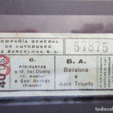 Coleccionismo Billetes de transporte: BILLETE CAPICUA 57875 COMPAÑIA GENERAL DE AUTOBUSES DE BARCELONA 40 CENTIMOS VER TRAYECTOS. Lote 180232735