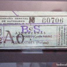 Coleccionismo Billetes de transporte: BILLETE CAPICUA 60706 COMPAÑIA GENERAL DE AUTOBUSES DE BARCELONA VER TRAYECTOS SELLO LINEA BS. Lote 180232792