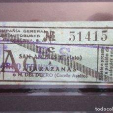 Coleccionismo Billetes de transporte: BILLETE CAPICUA 51415 COMPAÑIA GENERAL DE AUTOBUSES DE BARCELONA VER TRAYECTOS SELLO LINEA BS. Lote 180232808
