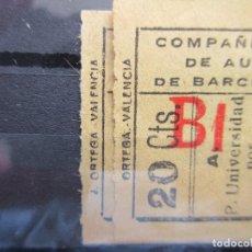 Coleccionismo Billetes de transporte: 2 BILLETE CAPICUA 28882 32223 COMPAÑIA GENERAL DE AUTOBUSES DE BARCELONA VER SELLO IMPRESOR DIFERENT. Lote 180232921