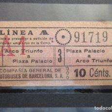 Coleccionismo Billetes de transporte: BILLETE CAPICUA 91719 COMPAÑIA GENERAL DE AUTOBUSES DE BARCELONA VER TRAYECTOS. Lote 180233008