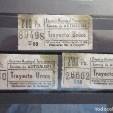 Coleccionismo Billetes de transporte: 3 BILLETE CAPICUA 06860 26662 89498 SOCIEDAD EMT AUTOBUSES DE MADRID. Lote 180233286