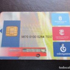 Coleccionismo Billetes de transporte: TARJETA PLASTICO COMPAÑIA DE TRANVIAS DE LA CORUÑA. Lote 180233652