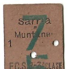 Coleccionismo Billetes de transporte: BILLETE TREN EDMONSON 1949 DE MUNTANER A BONANOVA SARRIÁ FERROCARRILS DE CATALUNYA FC.S.B.. Lote 180935531