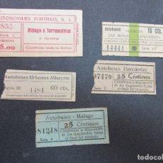 Coleccionismo Billetes de transporte: LOTE 5 BILLETES DIFERENTES MALAGA TORREMOLINOS . Lote 182004360