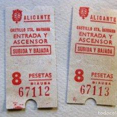 Coleccionismo Billetes de transporte: 2 ENTRADA CASTILLO DE SANTA BARBARA ALICANTE . TIQUET ENTRADA Y ASCENSOR . Lote 182166652