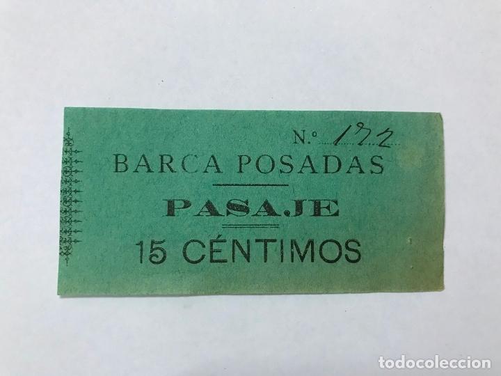 RAREZA BILLETE BARCA POSADAS (CÓRDOBA), PASAJE PARA PASAR EL RIO GUADALQUIVIR, 15 CTS, FINALES XIX (Coleccionismo - Billetes de Transporte)
