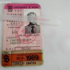 Coleccionismo Billetes de transporte: ANTIGUA TARJETA TRANSPORTE EMT. Lote 182280538