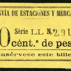 Coleccionismo Billetes de transporte: BILLETE DE TRANVIA DE ESTACION Y MERCADOS // MADRID // MEDIDAS 7 X 4 CM.. Lote 182300518