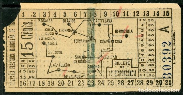 BILLETE DE COMPAÑIA ELECTRICA MADRILEÑA DE TRANVIAS // MEDIDAS 10 X 5 CM. (Coleccionismo - Billetes de Transporte)