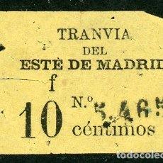 Coleccionismo Billetes de transporte: BILLETE DE TRANVIA DEL ESTE DE MADRID // MEDIDAS 4 X 2,8 CM.. Lote 182301118