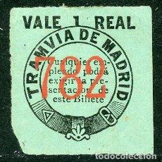 Coleccionismo Billetes de transporte: BILLETE DE TRANVIA DE MADRID // VALE 1 REAL // MEDIDAS 3 X 3,4 CM.. Lote 182301298