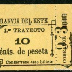Coleccionismo Billetes de transporte: BILLETE DE TRANVIA DEL ESTE // MADRID // MEDIDAS 4,5 X 3,8 CM.. Lote 182301730