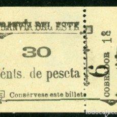 Coleccionismo Billetes de transporte: BILLETE DE TRANVIA DEL ESTE // MADRID // MEDIDAS 4,5 X 3,8 CM.. Lote 182301870