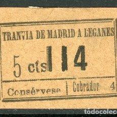Coleccionismo Billetes de transporte: BILLETE DE TRANVIA DE MADRID A LEGANES // MEDIDAS 4 X 3 CM.. Lote 182302081