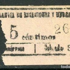 Coleccionismo Billetes de transporte: BILLETE DE TRANVIA DE ESTACION Y MERCADOS // MEDIDAS 5 X 2,8 CM.. Lote 182302237