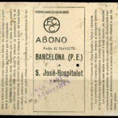 Coleccionismo Billetes de transporte: ABONO DE FERROCARRILES CATALANES // BARCELONA - S.JOSE, HOSPITALET. Lote 182302771