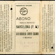 Coleccionismo Billetes de transporte: ABONO DE FERROCARRILES CATALANES // BARCELONA - SAN BAUDILIO - SANTA COLOMA . Lote 182302948