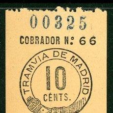 Coleccionismo Billetes de transporte: BILLETE DE TRANVIA DE MADRID . Lote 182380512
