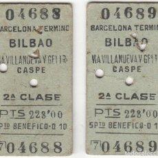 Coleccionismo Billetes de transporte: 2 BILLETES CONSECUTIVOS: BARCELONA - BILBAO / 2ª CLASE - 17 JULIO 1953. Lote 182493605