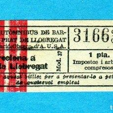 Coleccionismo Billetes de transporte: RARO BILLETE AUTOBUS BARNA/EL PRAT COLECTIVIZACIÓN OBRERA U.S.A. IDA GUERRA CIVIL 1937 MUY ESCASO. Lote 183028380