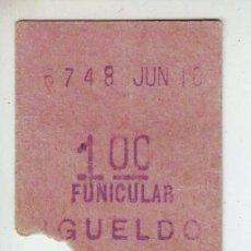 Coleccionismo Billetes de transporte: SAN SEBASTIAN. BILLETE DE FUNICULAR MONTE IGUELDO IDA Y VUALTA 1'00.. Lote 183062712
