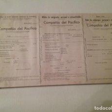 Coleccionismo Billetes de transporte: TALONARIO DE BILLETES DE EMBARQUE COMPAÑÍA DEL PACIFICO (THE PACIFIC STEAM NAVIGATION CO.). Lote 182528637