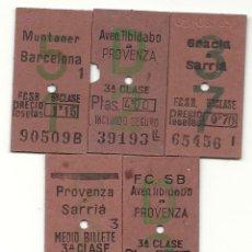 Coleccionismo Billetes de transporte: 5 BILLETES CAPICUAS FCSB.AÑOS 70. Lote 183841868