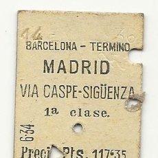 Coleccionismo Billetes de transporte: MZA.BARCELONA-MADRID.VIA SIGÜENZA.1936. Lote 183842195