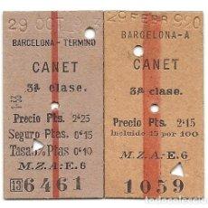 Coleccionismo Billetes de transporte: BILLETES CANET-BARCELONA.MZA.AÑOS 20-40. Lote 183842513