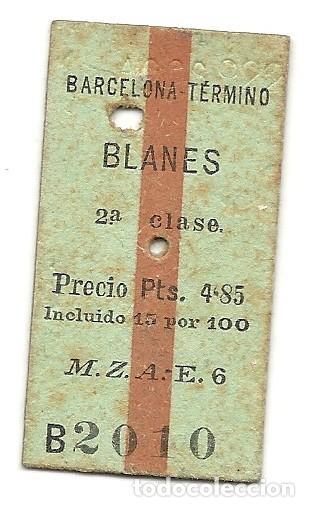 MZA.BARCELONA-BLANES.1922 (Coleccionismo - Billetes de Transporte)