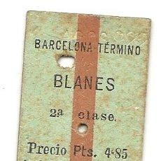 Coleccionismo Billetes de transporte: MZA.BARCELONA-BLANES.1922. Lote 183842700