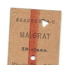 Coleccionismo Billetes de transporte: MZA.BARCELONA-MALGRAT.1924. Lote 183843167