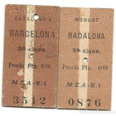 Coleccionismo Billetes de transporte: MZA.BARCELONA-BADALONA.. Lote 183843393